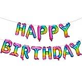 Bandera de Globos de Happy Birthday Autoinflable de 16 Pulgadas Globos de Letras de Papel de Aluminio Metálico Incluye Cinta para Decoración Fiesta Boda Cumpleaños (Color Arcoiris Degradado)