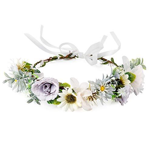 Czemo Damen Blumenkranz Haarschmuck Blumenstirnband Boho Blumen Haarreif für Hochzeit Zeremonie Party Festival Waldfee Kostüm