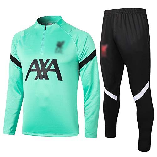 BVNGH Traje de Entrenamiento de Camiseta de fútbol de Liverpool, 2021 Nueva Temporada de Manga Larga Moda Ropa de Ropa Deportiva, Fan Jersey Entrenamiento Ropa Camiseta re Green-XL