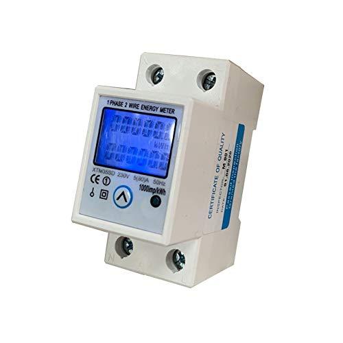 JVJ Contador de corriente alterna, 230 V, 5-80 A, contador de energía, medidor digital, retroiluminable, vatímetro monofásico, montaje de riel eléctrico, 50 Hz, LCD DIN