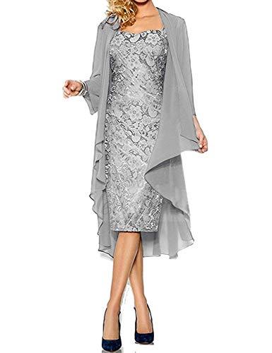 SongSurpriseMall Mutter der Braut Kleider Für Hochzeit Damen Cocktailkleider Kurz Abendkleider mit Jacke 3/4 Arm Festliches Kleider Silber EU48