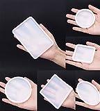 Prettyui-6 piezas molde de joyería cuadrado redondo moldes de fundición de silicona moldes de posavasos collar transparente molde colgante arcilla polimérica resina fundición artesanía DIY