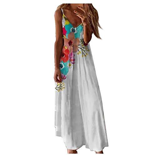 DANWAN Women Fashion Casual Summer Sleeveless Boho Floral Print Beach White