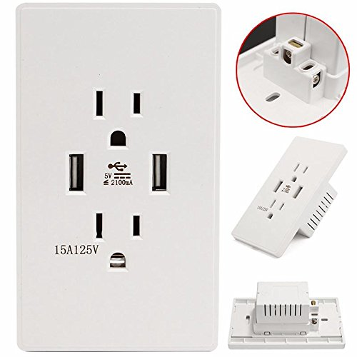 Bazaar DC5V 4,2 A 2-poorts snellader dual USB-aansluiting Outlet conventionele Amerikaanse wandcontactdoos