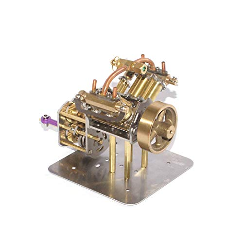 PeleusTech Mini V4 Steam Engine Model with Reverse Gearbox Without Boiler for Teaching, Gift, Physical Experiment