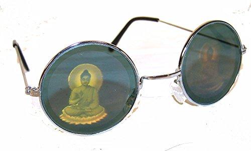 1 Pair of Round Buddha Hologram Glasses - Buddhist 3d Novelty Unisex Novelty Holographic Sunglasses