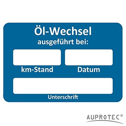 AUPROTEC Kundendienst Aufkleber Werkstatt Serviceaufkleber Auswahl: 10 Stück, Ölwechsel ausgeführt am