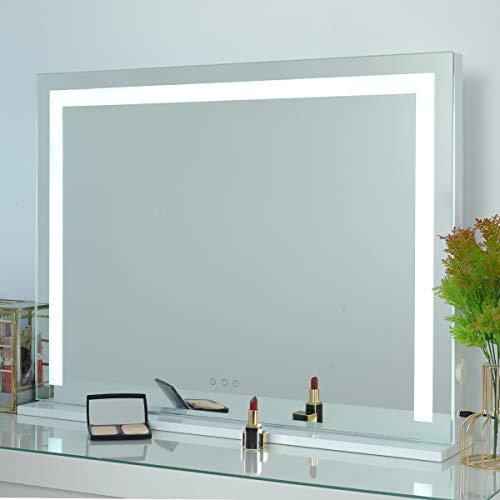 OUO Espejo de tocador grande con luces, espejo de maquillaje Hollywood con tira de luz LED, control táctil, 3 ajustes de luz, brillo ajustable, puerto USB, mesa o montaje en pared, W27.5 x H21.6