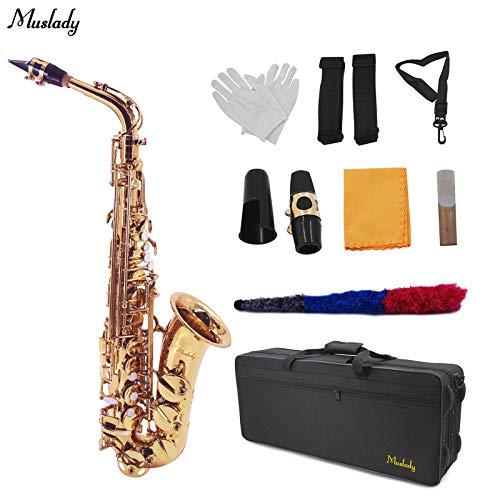 Montloxs AS-100 Eb Altsaxophon Sax Messing lackiert Gold 802 Schlüssel Typ Holzblasinstrument mit Tragetasche Rohrreinigungsbürste Tuch g-loves Straps