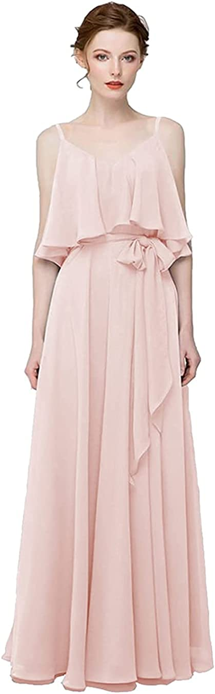 RUI QI Women's Off The Shoulder Bridesmaid Dresses Long V Neck Chiffon Formal Evening Gown with Pockets RQB196