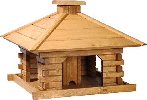dobar 45300e Rustikales Vogelfutterhaus im Blockhaus-Stil mit dekorativem Holzdach, Vogelhaus mit integriertem Futtersilo, Kiefer, XL, braun