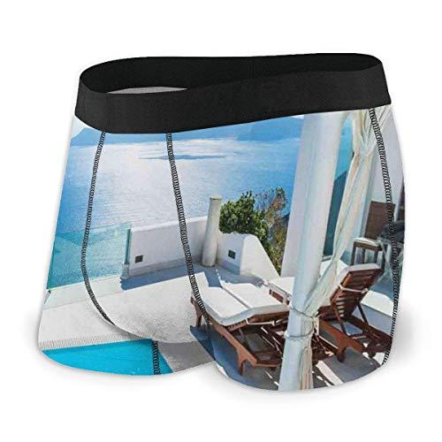Calzoncillos bóxer para Hombre, Arquitectura en la Isla de Santorini, Grecia, Piscina, Hotel Azul Blanco con Vistas al mar, Talla XL