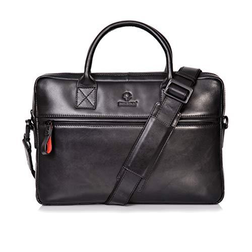 Donbolso Notebooktasche Marseille 13,3 Zoll Leder I Umhängetasche für Laptop I Aktentasche für Notebook I Tasche für Damen & Herren (Schwarz)