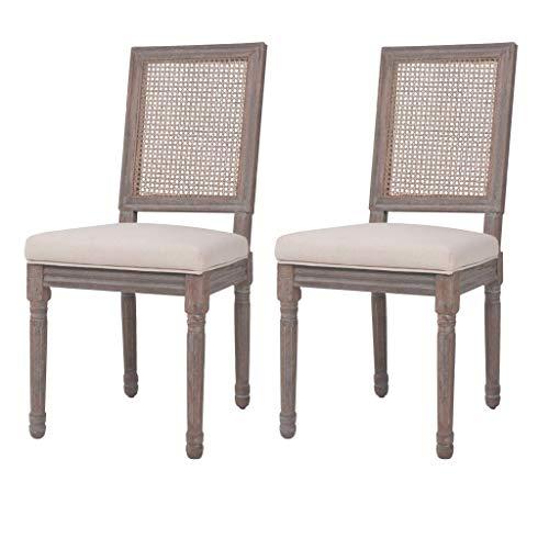Namotu vidaXL Esszimmerstühle 2 STK. Leinen Rattan 47 x 58 x 98 cm Cremeweiß