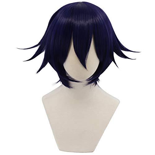 Cfalaicos 14.9'' Short Black Purple New Danganronpa V3 Kokichi Ouma Cosplay Wig