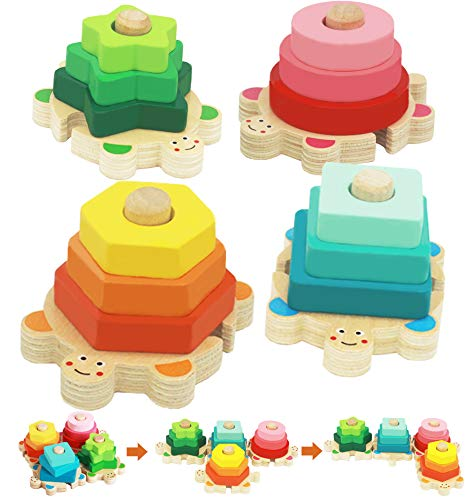 Wooden Stacking Toys for Toddler 2 3 4 Year Old, Shape Sorter Montessori Educational Puzzle Blocks Toys, Best Gifts for Girls Boys Early Preschool Learning by Flyingseeds