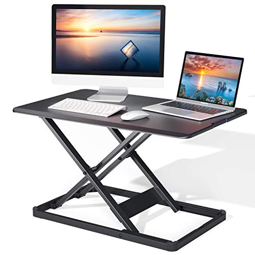"""Standing Desk Converter with Height Adjustable, 28.3"""" Gas Spring Riser Sit to Stand Tabletop Workstation, Perfect for Laptop & Computer Monitors by Perlegear"""