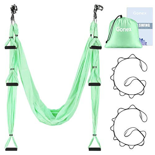 Learn More About Gonex Aerial Yoga Swing Set, Yoga Hammock Trapeze Sling Kit Fitness Inversion Swing...