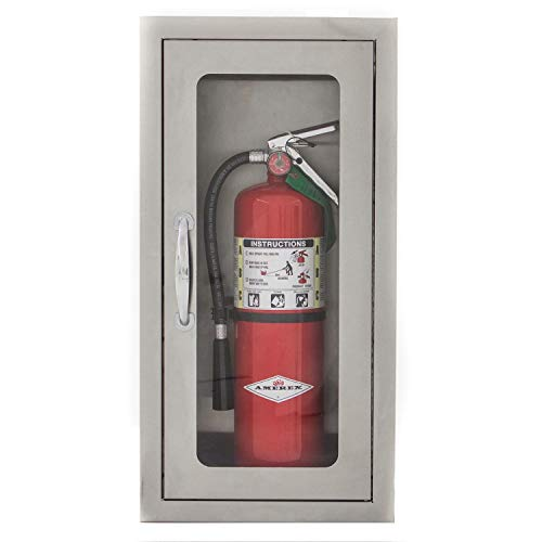 BBQGuys 14-Inch Stainless Steel Semi-Recessed 10 Lb. Fire Extinguisher Cabinet