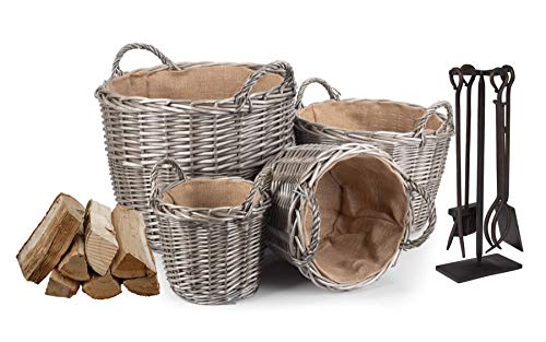 Wrenbury Wicker Log Baskets Storage Baskets Willow Fabric Lined | Set of 4 Fire Baskets Woven Basket Traditional