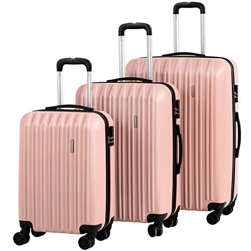 Murtisol Travel 3 Pieces ABS Luggage Sets Hardside Spinner Lightweight Durable Spinner Suitcase 20' 24' 28', 3PCS Rose Gold