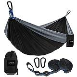 Kootek Camping Hammock Double & Single Portable Hammocks with 2 Tree Straps, Lightweight Nylon Parachute Hammocks for Backpacking, Travel, Beach, Backyard, Patio, Hiking (Black & Grey, Large)