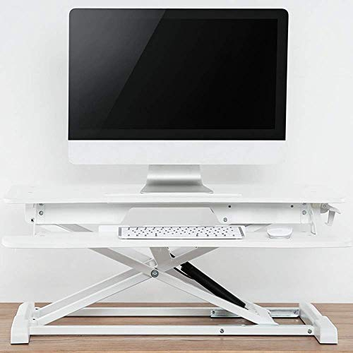 HYY-YY Stand Up Desk Sit Stand Desktop Computer Workstation Adjustable Stand Up Desk For PC Computer Laptop Easy To Install (Color : White, Size : One size)
