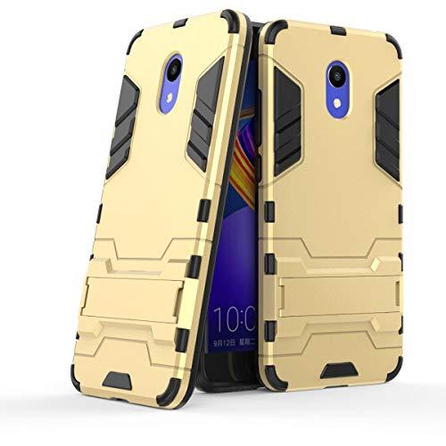 tinyue® Handyhülle für Meizu M6S, Hülle 2 in 1 Material Harte Schwer doppelte kratzfester Handyfall im Freienhandyfall Iron Man Rüstung mit Kickstand Hülle, Gold