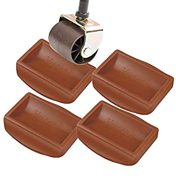 Yupeak Bed Stopper & Furniture Stopper – Caster Cups fits to All Wheels of Furniture Sofas Beds Chairs – Furniture Cups Made up of Solid Silicone and Prevents Scratches 4PACK(Dark Brown)