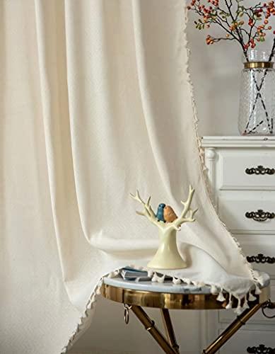 Deamos Boho Gardinen Beige mit Jacquard Textur und Quasten,Baumwolle Landhausstil Vorhänge Halb Blickdichte Wohnzimmer Schlafzimmer Vorhang,1 Stück,B150×H240cm