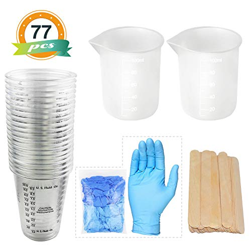 LETS RESIN Resin Mixing Cups 20pcs Epoxy Resin Cups 10oz Plastic Graduated Cups 2pcs 100ml Reusable Silicone Measuring Cups with 20pcs Wood Mixing Sticks 5 Pairs Nitrile Gloves