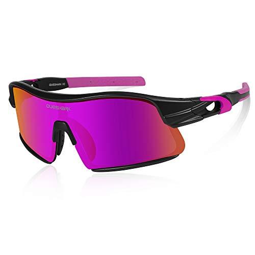 Queshark Polarisierte Sportsonnenbrille mit 4 Wechselgläsern für Radfahren Laufen Fahren Fischen Golf Baseball