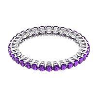 1.36カラット認定 2mm アメジストゴールド婚約指輪 1/4カラットダイヤモンド結婚指輪アンティーク宝石エタニティリングアニバーサリープロミスリング, 18K ホワイトゴールド, Size: 4