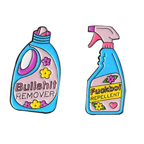 LAVALINK Botón Limpia Repelente Botella Grande Paint Broche Pin Detergente Para Chaquetas Insignia S Regalos 2 Pedazos /