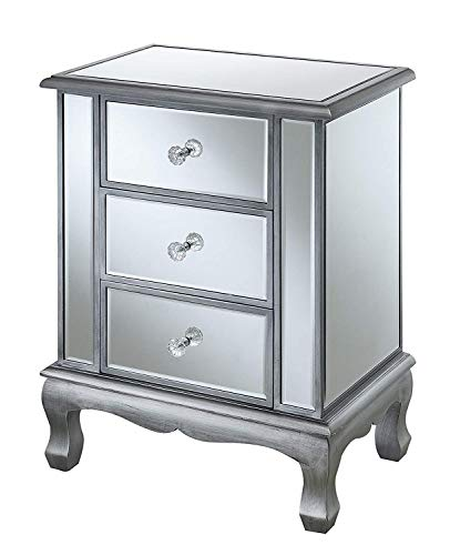 Convenience Concepts Gold Coast Vineyard 3 Drawer Mirrored End Table, Antique Silver / Mirror