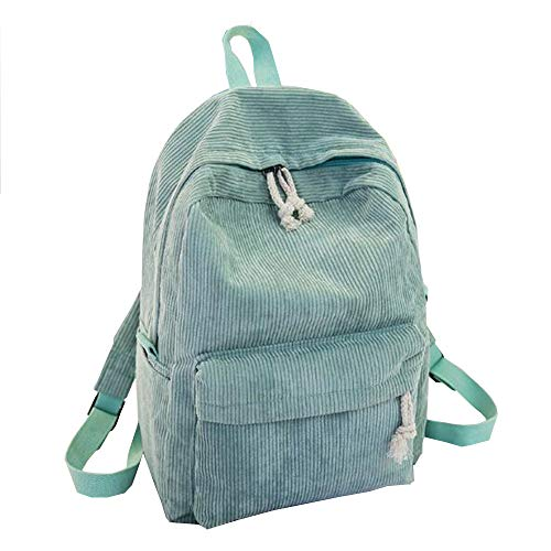 Poopy Girls Personality Corduroy College Style Backpack Female Accessories Handbags Backpack Daypack-Green