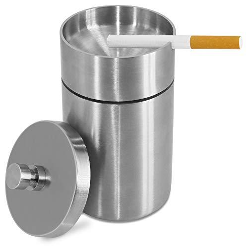 HONZUEN Posacenere Antivento con Coperchio, Portacenere Antiodore in Acciaio Inox Cigarette Ashtray Outdoor in Metallo Posaceneri Moderni per Giardino Ufficio Balcone Auto Bar(Argento)