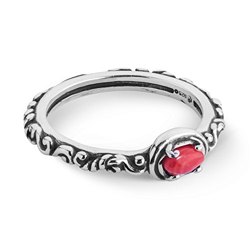 Carolyn Pollack Sterling Silver Red Coral Gemstone Single Oval Stone Ring Size 9