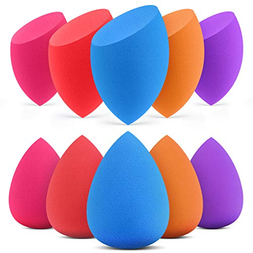 InnoGear Makeup Sponge, 10 Pcs Makeup Sponges Blender Set Beauty Cosmetic Foundation Blending Applicator Puff, Flawless for Liquid Cream Powder (Multi colored)