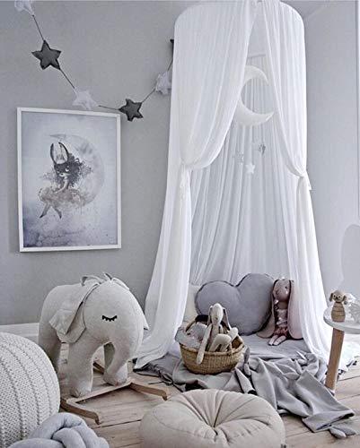 Ciel de Lit pour Enfant,Couvertures de Lit pour Enfants, Moustiquaire de Soie, Tente de Lecture Extérieure pour Bébé en Intérieur, Décoration de Chambre et de Lit (Blanc)