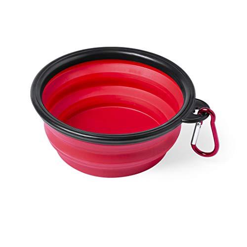 Comedero Plegable para Perros, Bowl para Alimentar Mascotas, Cuenco Plegable para Perros y Gatos, tazón Fuente alimentación para Perros, Bebedero portátil (Rojo)