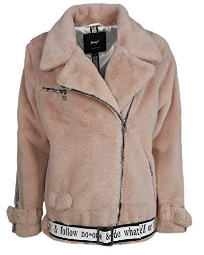 Maze Damen Fake Fur Jacke Mit Asymmetrischem Reißverschluss Malibu Light Blush M