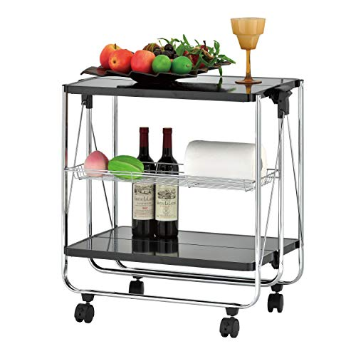 ikloo 2-Tier Multi-Purpose Foldable Utility Cart with Commercial Grade Lockable Caster Wheels, Collapsible Table Serving Cart and Kitchen Organizer for Home and Business Use (Black)