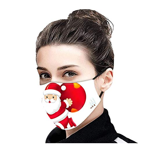 NN/A Weiß Weihnachten Mundschutz mit Weihnachtsmann Motiv Wiederverwendbar Erwachsene Mund und Nasenschutz