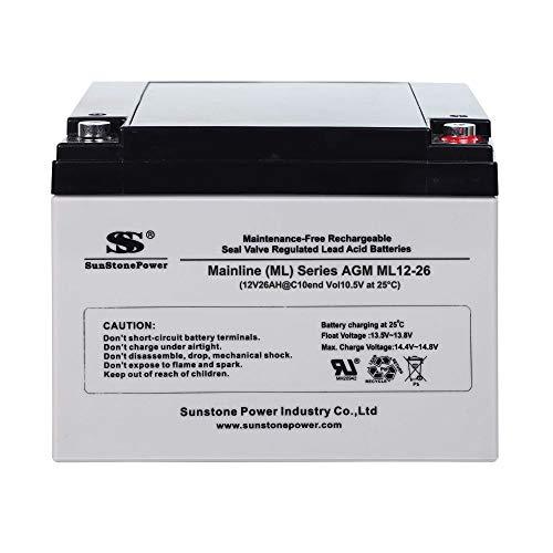 Sunstone AGM Akku Bleiakku Gel AGM Batterie 12V 26AH Beleuchtung Batterie Zyklenfest Supply-Serie VRLA Versorgungsbatterie (Wartungsfrei)