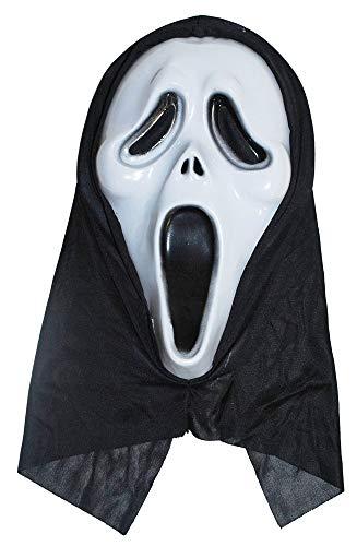 Das Kostümland Horror Scream Geister Maske - Gruselige Halloween Maske mit Kapuze Haube
