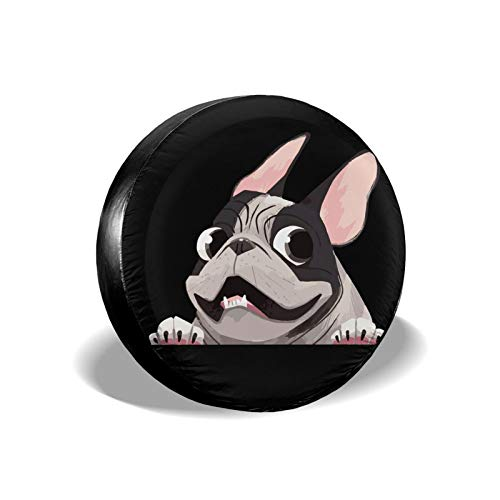 CLTT9KF Pied Brindle French Bulldog Spare Tire Wheel Cover Fit for Jeep RV Trailer and Many Vehicles