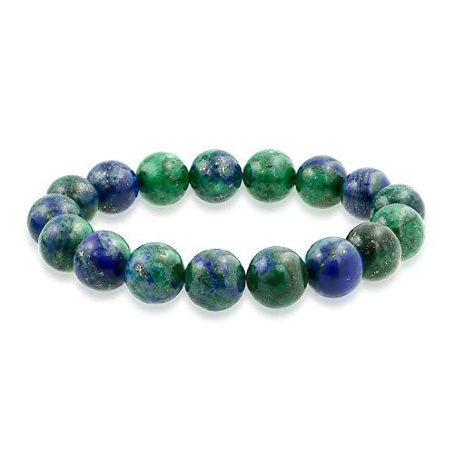 Bling Jewelry Apilado Semi Precioso Gema Strand Verde Azul Azul Azul Bola Redonda Cuenta 12mm Pulsera de Estiramiento para Mujeres Hombres Unisex