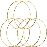 HOHIYA 14 inch Metal Floral Hoop Craft Wreath Dream Catcher Gold Large Macrame Rings for Christmas Wedding Wall Hanging 4mm Wire 6pcs