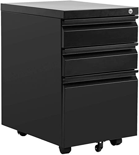 Black Metal File Cabinet with Wheels, 3 Drawer File Cabinet Filling Cabinet Mobile Office Cabinet on Wheels for A4 Letter Size Hanging File Folders Industria, Built-in Locks Best Office File Cabinet